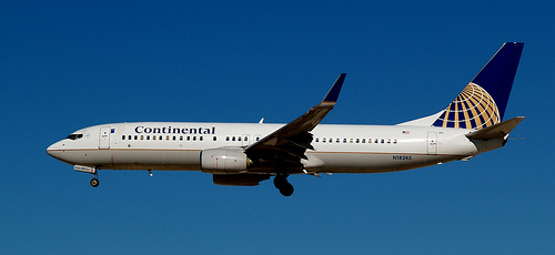 photograph from Flickr of a Continental airplane