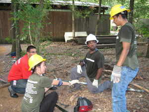 photograph of the green team at work