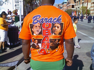 image of Barack Obama tshirt, one among many at the parade