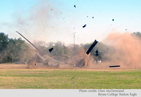 image of crash of a Black Hawk helicopter on the Texas A&M campus
