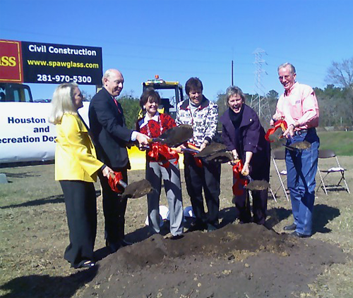 image of Chair of the Memorial Park Capital Campaign, Mindy Hildebrand; Mayor Bill White; Councilmember Pam Holm, Councilmember Sue Lovell, Councilmember Toni Lawrence; Director of Houston Parks and Recreation, Joe Turner