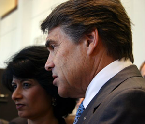 image of Gov. Rick Perry and President Dr Renu Khator