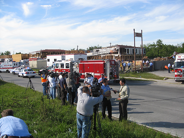 image of scene of where the building collapsed