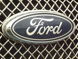 image of Ford logo on car fender