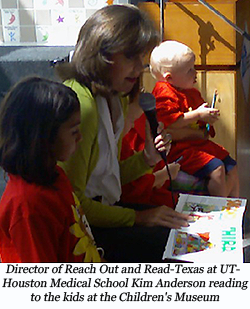 image of Kim Anderson is director for Reach Out and Read-Texas at the UT Medical School Houston reading a book to children