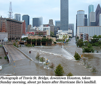 Photograph of Travis St. Bridge, downtown Houston taken Sunday morning, about 30 hours after Hurricane Ike's landfall.