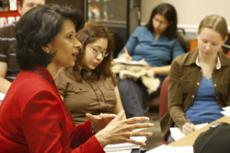 UH President Renu Khator with students