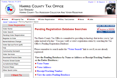 pending voter registration page