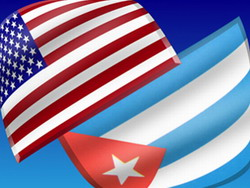 US and Cuba flags
