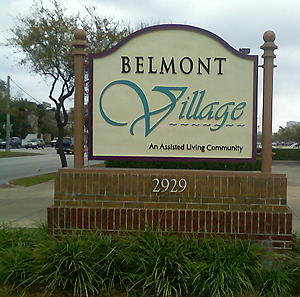 Belmont Village an assited living community sign