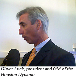 Oliver Luck, president and GM of the Houston Dynamo