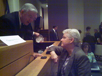 Gina McCarthy of EPA conferring with Texas Congressman Joe Barton