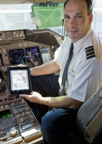United pilot with iPad