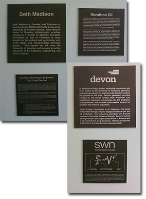 Plaques on the wall at the University of Houston's Energy Research Park