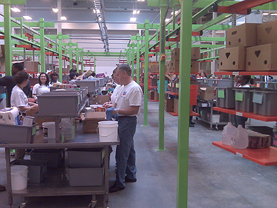 Houston Food Bank workers packing food