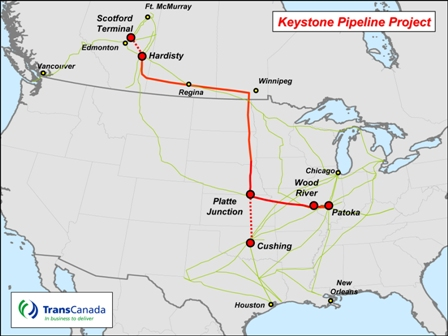 Map of Keystone Pipeline KL