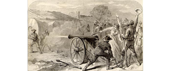 illustration of Angelina Eberly firing a cannon