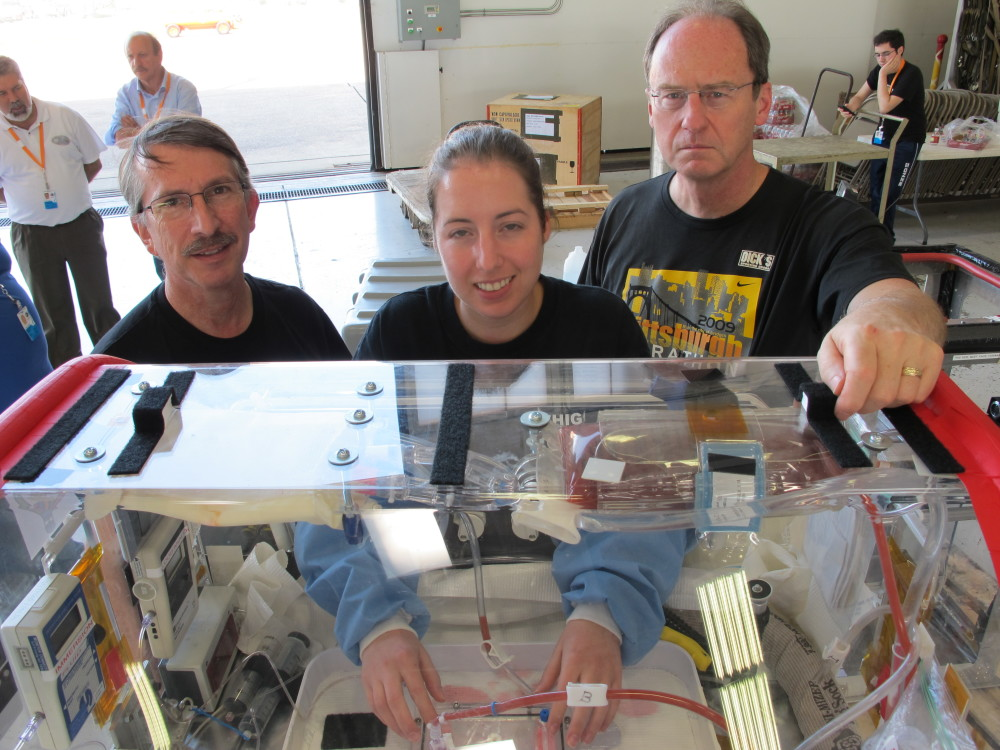 The astrosurgery team with modified infant incubator