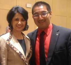 UH Student Edward Carrizales with UH President Renu Khator