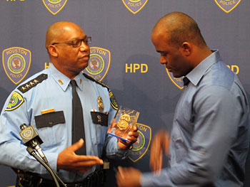 Chief giving badge