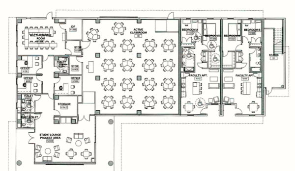 A floorplan for the Innovate UH classrooms