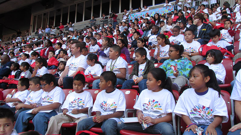 Reading Rally participants seated in the stadium