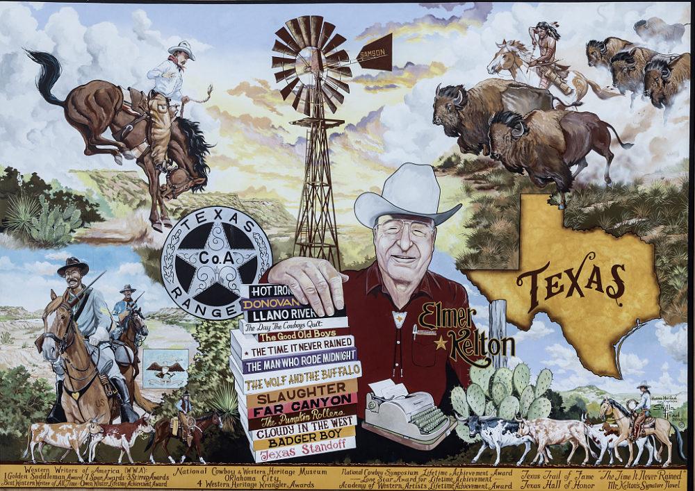 western mural featuring cowboys and Elmer Kelton