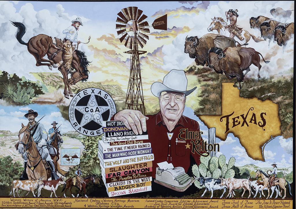 western mural featuring cowboys and Elmer Kelton