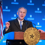 It was his first major speech outside Austin since being sworn in as the state's 49th chief executive.
