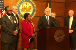 New Orleans Mayor Mitch Landrieu thanks Houstonians for their support after Hurricane Katrina. He's joined by Bishop R. C. Blakes Jr., former Harris County Judge Robert Eckels, Rep. Sheila Jackson Lee, Houston Mayor Annise Parker and former Mayor Bill white (from left).