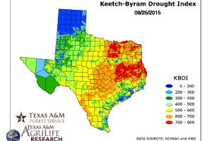 Drought Index map of Texas