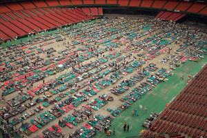 The Astrodome containing about 25,000 Hurricane Katrina evacuees.