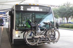 Bike on front rack on Houston Metro bus