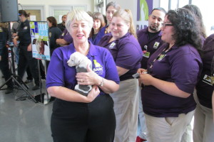 Annise Parker holding puppy