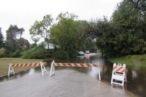 Barricades at high water location in Houston's Heights neighborhood