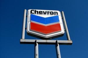 Chevron sign showing logo