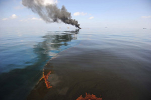 Open-water oil burn done in response to the Deepwater Horizon spill. The goal is to reduce the amount of oil on the water and minimizes the adverse effect of the oil on the environment. May 6, 2010 in response to the .