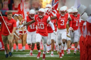 University of Houston Football team running out