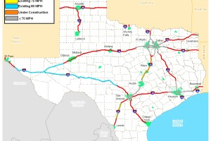 map of Texas speed limits