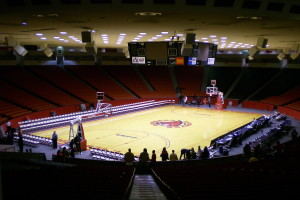 The interior of basketball court