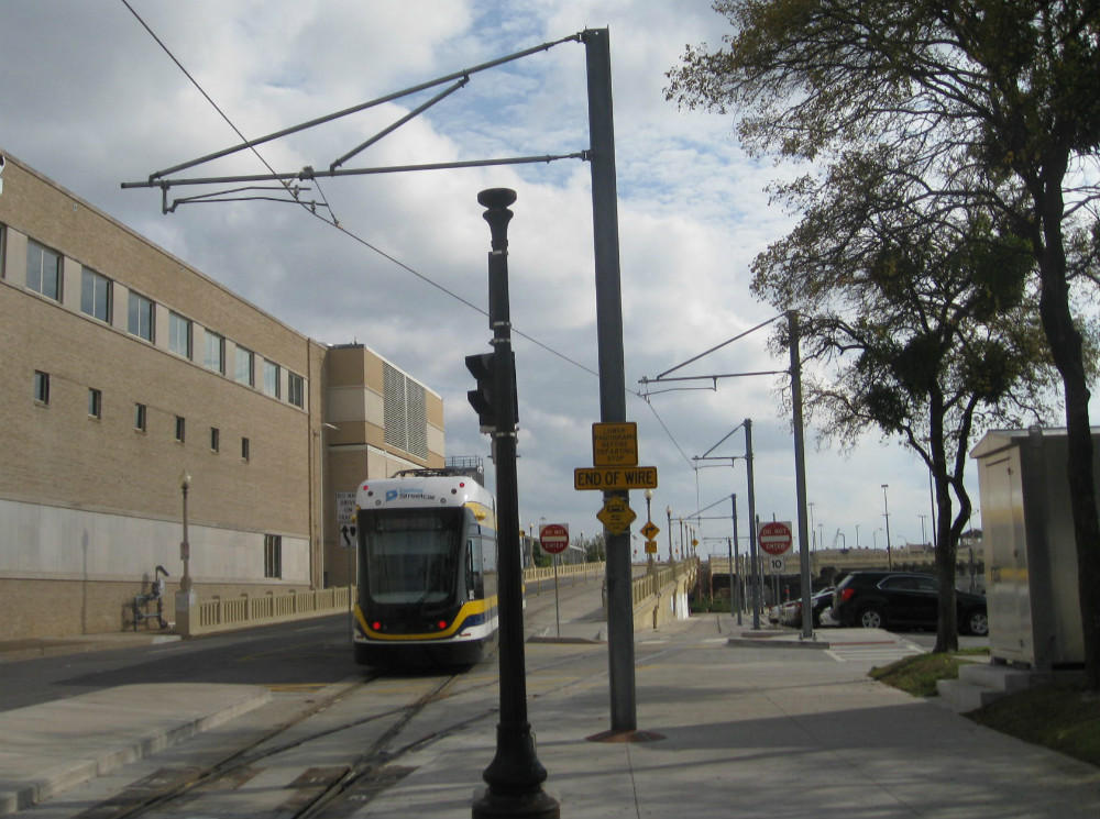 Dallas streetcar departs from the stop across from Union Station