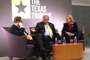 "From left to right: Evan Smith, Editor-In-Chief of the Texas Tribune, Texas Senator Paul Bettencourt and Texas Senator Sylvia Garcia during the ""Houston & The Legislature"" forum."