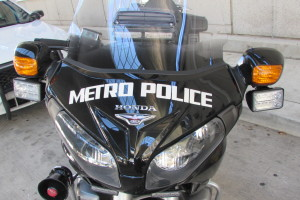 the front of a Metro police motorcycle