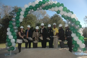 Houston Councilman Larry Green, along with City officials and HPD officers, breaks ground for the upcoming Southwest station.