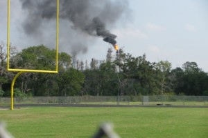 Flare burns at petrochemical plant on Houston's east side