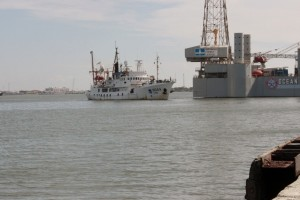 photo of NOAA research ship entering Port of Galveston