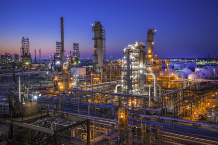 Marathon Petroleum Corporation Galveston Bay refinery at night. Texas City, Texas