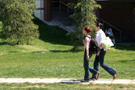 Generic image of students walking across campus