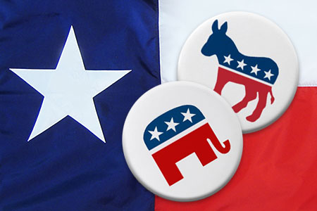 Texas flag with both party animal signs on pins