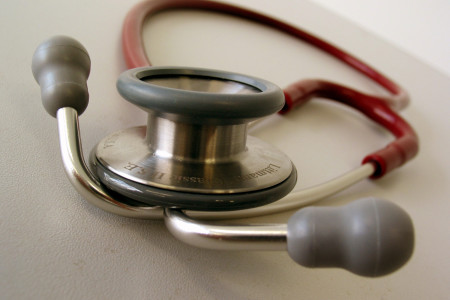 photo of a red stethoscope